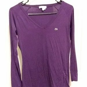 PURPLE Lacoste , womens size 40, long sleeve shirt